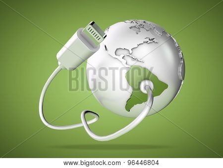 Usb Cable Supplies Data To South America On Green Background.