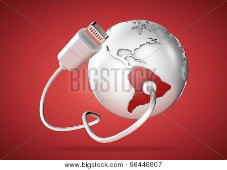 Usb Cable Supplies Data To South America On Red Background.
