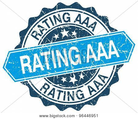 Rating Aaa Blue Round Grunge Stamp On White