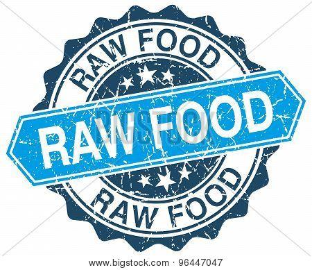 Raw Food Blue Round Grunge Stamp On White