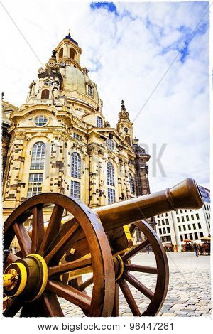 Dresden. famous Frauenkirche church. artistic picture