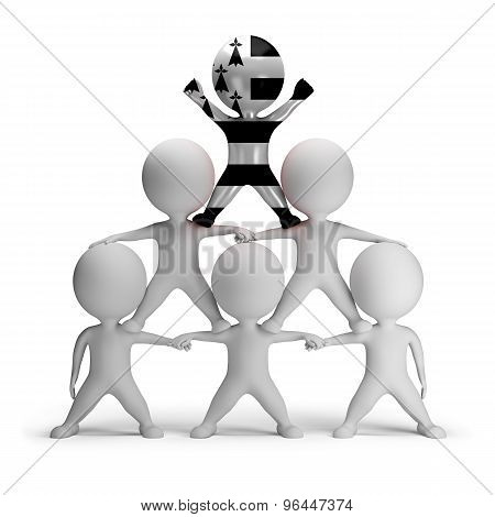 3d small people standing on each other in the form of a pyramid with the top leader Brittany
