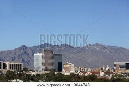 City of Tucson Downtown and Mountains, AZ