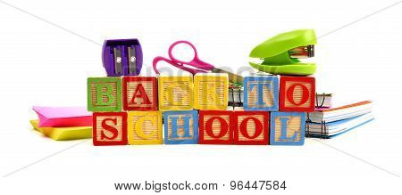 Back to School toy wooden blocks with school supplies