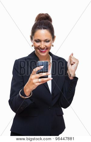 Businesswoman Calling Someone On Mobile Phone
