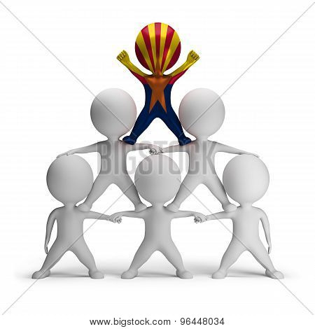 3d small people standing on each other in the form of a pyramid with the top leader Arizona