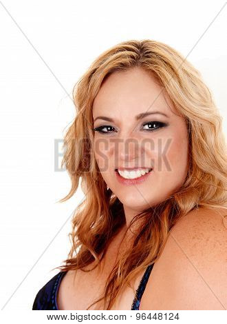 Smiling Plus Size Blond Woman.