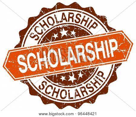 Scholarship Orange Round Grunge Stamp On White