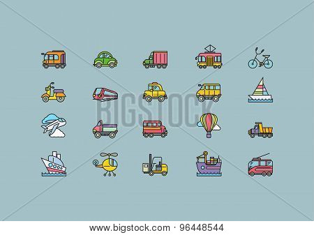 Kinds of Transport Set Colorful Outline Icons