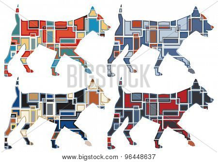Set of colorful eps8 editable vector mosaic illustrations of a dog running