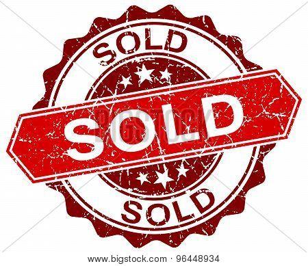 Sold Red Round Grunge Stamp On White