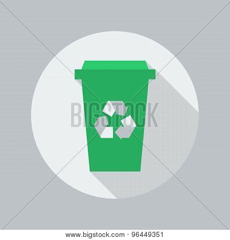 Eco Flat Icon. Recycle Bin