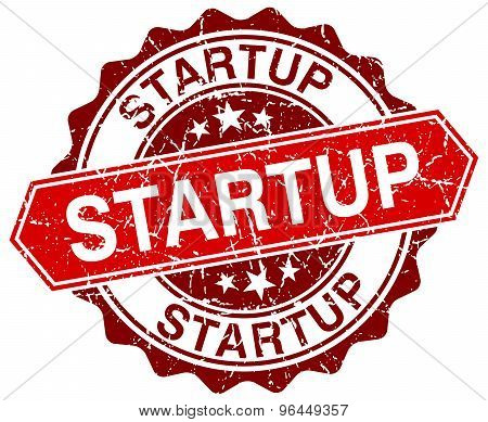 Startup Red Round Grunge Stamp On White