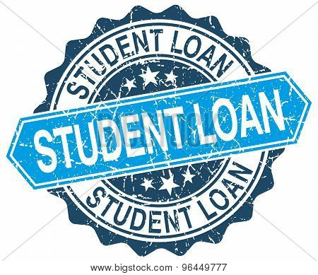 Student Loan Blue Round Grunge Stamp On White