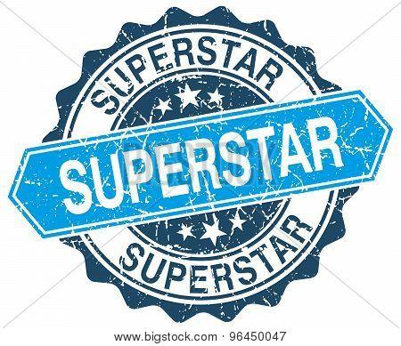 Superstar Blue Round Grunge Stamp On White