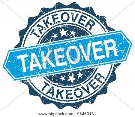 Takeover Blue Round Grunge Stamp On White