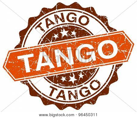 Tango Orange Round Grunge Stamp On White