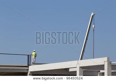 Height Worker On Building Skeleton