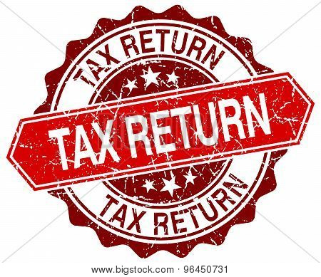 Tax Return Red Round Grunge Stamp On White