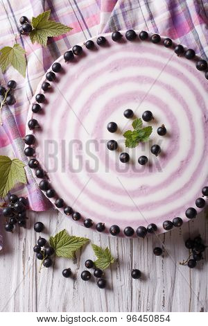 Delicious Cheesecake With Black Currant Close Up Vertical Top View