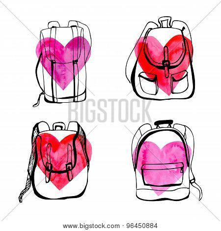 Set Of Doodle Backpacks With Hearts