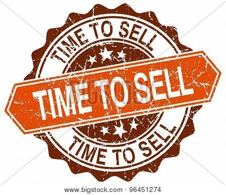 Time To Sell Orange Round Grunge Stamp On White