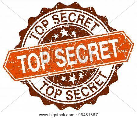 Top Secret Orange Round Grunge Stamp On White