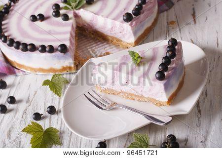 Beautiful Piece Of Currant Cheesecake Horizontal