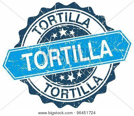 Tortilla Blue Round Grunge Stamp On White