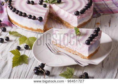 Beautiful Sliced Currant Cheesecake Close-up Horizontal