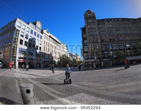 Prague, Czech Republic - April 21, 2015: People Ride On The Segways On Vaclavske Square