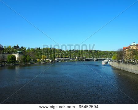 View Of The River Vltava From The Bridge