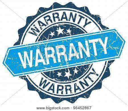 warranty blue round grunge stamp on white