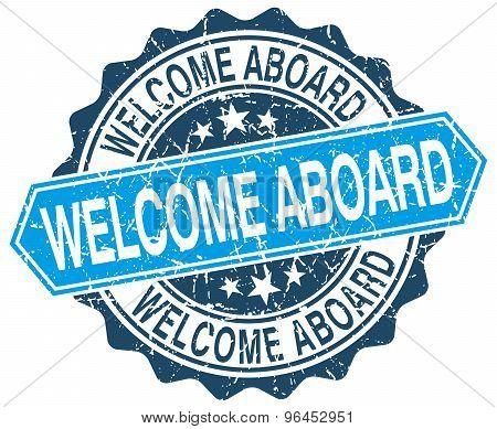 welcome aboard blue round grunge stamp on white