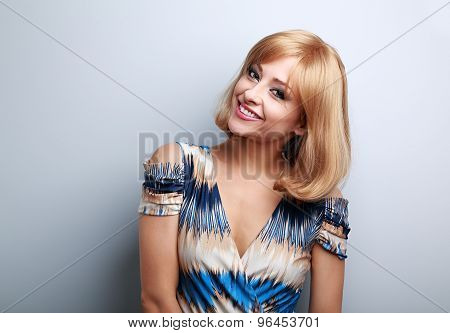 Happy Smiling Makeup Woman With Blond Short Hair Style Looking