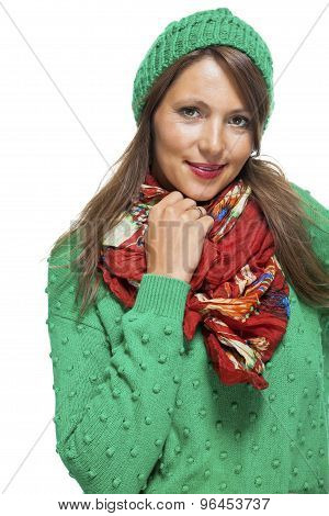 Cute Sexy Young Woman In A Green Winter Outfit