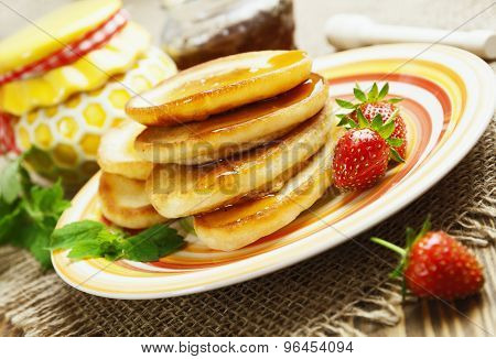 Homemade Pancake With Honey And Strawberry