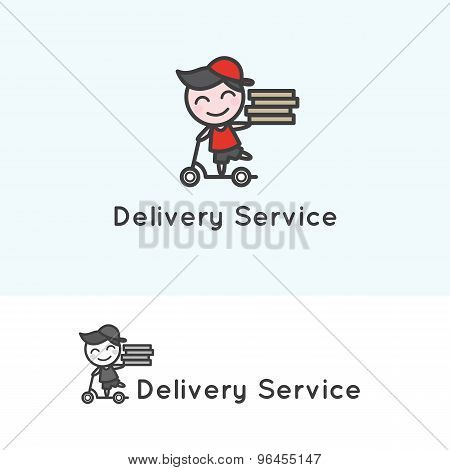 Vector minimalistic young delivery boy character. Delivery logotype.