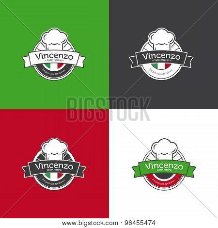 Vector retro badge for pizza restaurant. Italian restaurant logotype set.