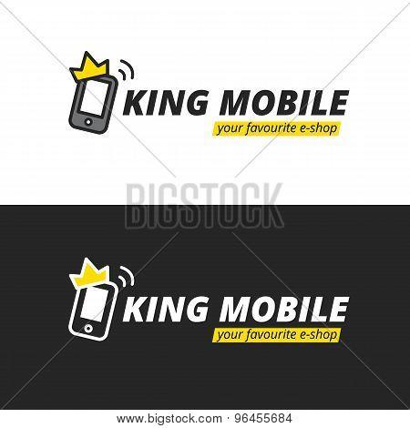 Vector funny mobile logotype. E-shop logo.