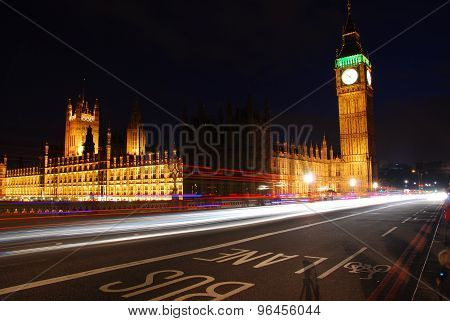 Big Ben and Westminster Abbey at night