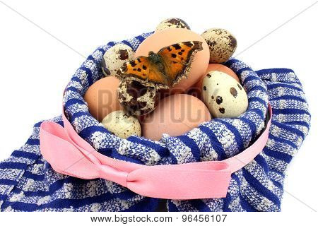 Basket With Eggs And Butterfly