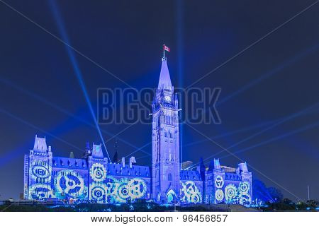 Canadian Parliament Buildings At Night