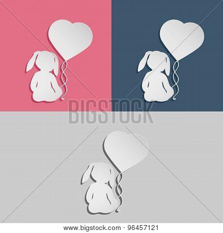 Rabbit child with heart balloon