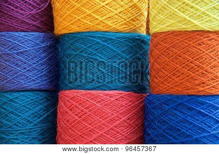 Nine Multiple Colored Yarn Balls