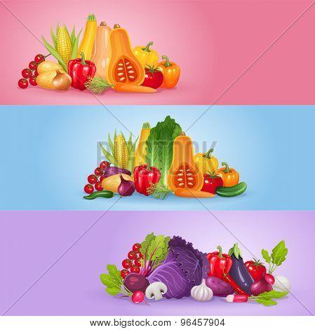 Vegetables banner design. Healthy and organic vector illustration background.