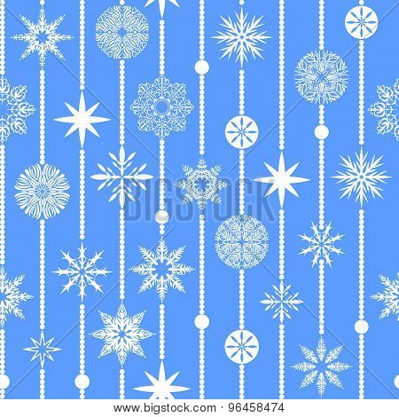 Seamless Vector Pattern: Garland Of Snowflakes