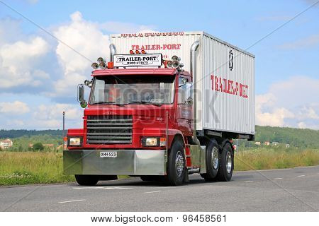 Red Conventional Scania T92 On The Road
