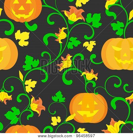 Halloween Background. Seamless Pattern. Pumpkin with leaves on black background