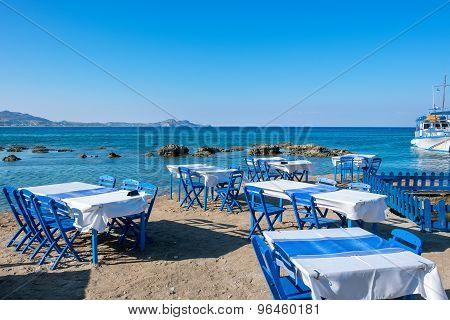 Cafe On A Beach. Kolymbia. Rhodes, Greece